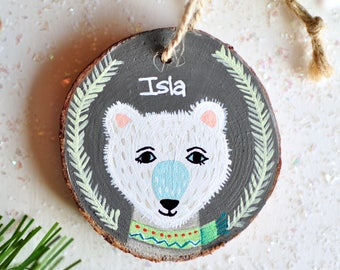 Polar Bear Ornament. Baby Boy First Christmas Ornament. Personalized Gifts for Kids. Wood Animal Ornament. Custom Hand Painted Ornament.