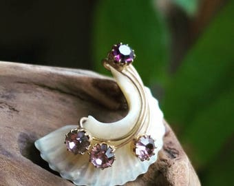 Antique Brooch - Mother of Pearl and Amethyst