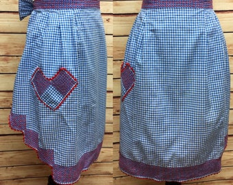 Vintage Gingham Apron Hostess Blue Red Check Heart Country 50s