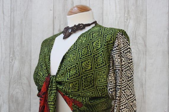 SILK CROP TOP - Bell sleeve crop top- Silk Tie Top- Vintage- Festival Top- Hippie- Retro- 70s- Crop Top- 100% Silk- Couture