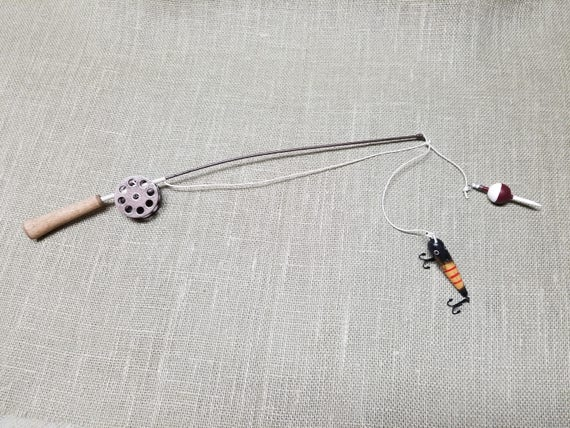Fishing Pole Decor - Brown Pole and Reel - Bobber and Lure