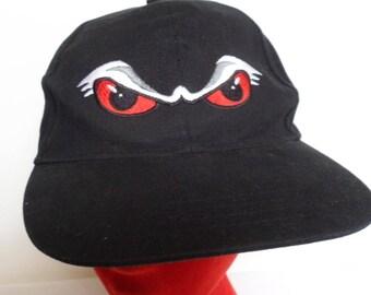"Vintage NHL Hockey Portland Winterhawks ""Eyes"" Ball Cap - Black Hat Adjustable Hook & Loop Strap - Oregon Hockey Team - Winter Hawks Retro"