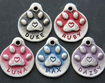 Tags for Dogs Dog Tag Dog ID Tags Red Heart Dog Tags Custom Pet ID Tag Handmade Gift for Her Pet Accessories