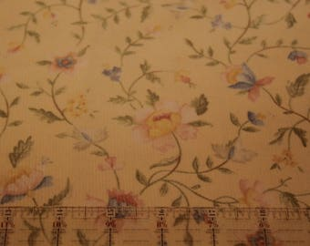 Corduroy / Pale Yellow Corduroy with Flowers / Vintage Corduroy / New on The Bolt