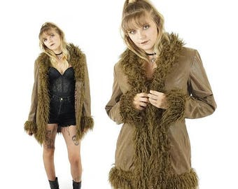 ON SALE Penny Lane 90s Faux Suede and Shag Fur Coat, Almost Famous Duster Jacket, 90s Winter Coat, Women's Size Large