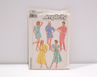 Jumpsuit / Romper / Dress 1980s Vintage Simplicity 7951 Sewing Pattern Culotte Mini Dress Playsuit Shirtwaist Dress Never Used Womens Small