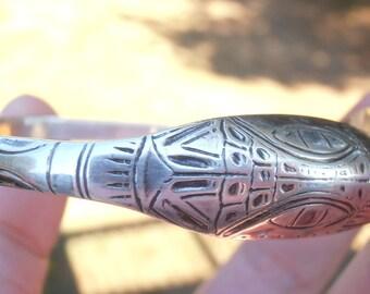 Reserved 4 January....vintage Alaskan eagle signed cuff bracelet signed E1 large size
