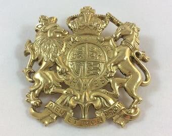 Vintage Accessocraft UK Coat of Arms Dieu et mon Droit Unicorn Brooch Pin