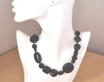 Black Onyx Necklace Statement Hand Knotted Stone Collar Necklace