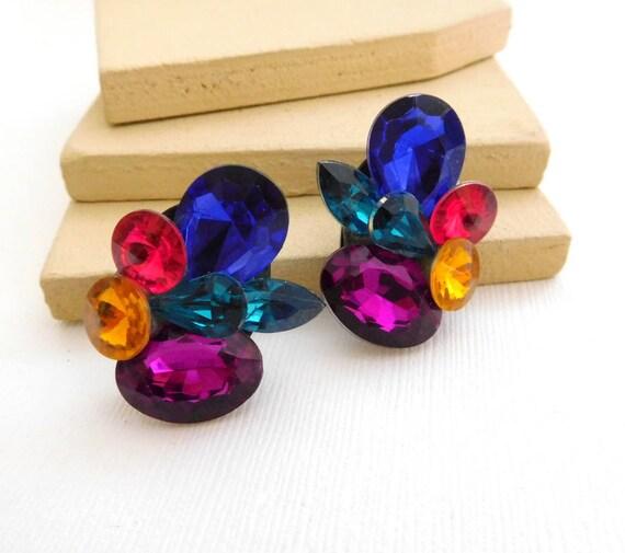 Vintage Multi-Color Simulated Glass Rhinestone Cluster Fruit Salad Earrings WW18