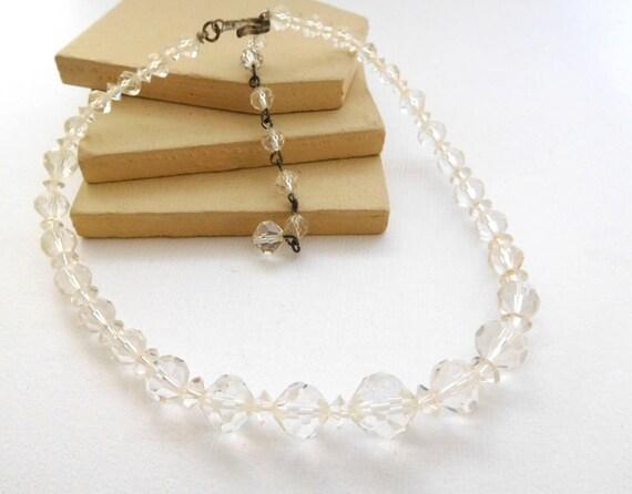 Vintage Signed Laguna Clear Crystal Bead Graduated Choker Necklace YY6