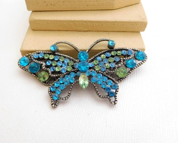 Retro Vintage Large Turquoise Blue Green Rhinestone Silver Butterfly Brooch WW8