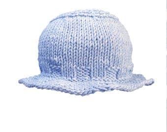 Hand Knit Baby Sun Hat, Unisex Baby Beanie, Newborn Sun Hat, Baby Sun Hat, Baby Beach Hat, Baby Blue Beach Hat, Baby Shower Gift Unique Gift