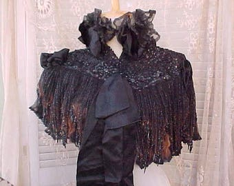 Beautiful Jeweled Victorian Mourning Capelet with Standup Ruffled Top and Jet Beads