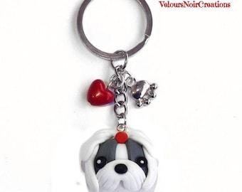 Keychain with dog Shih Tzu polymer clay