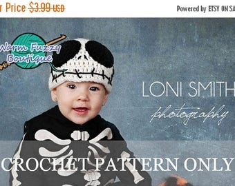"SUMMER SALE Instant Download PDF Crochet Pattern - No. 8 Baby Jack Skellington ""Nightmare Before Christmas"" Hat - 6 Sizes"