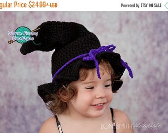 SUMMER SALE Witch Hat - Crochet Baby Newborn NB Girl Boy Costume Halloween Preemie Christmas Thanksgiving Photo Prop Winter Outfit