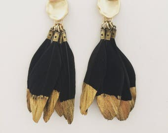 Black Gold Dipped Feather Earrings