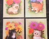 SET OF 4:  Vintage dead stock 1960s cats lithograph prints by K Chin