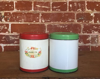 Vintage Canisters - Two Cadbury Tins - Red & Green