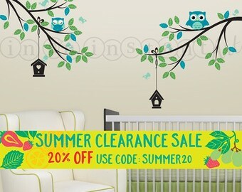 Double Branch with Adorable Owls and Hanging Birdhouses Wall Decal | Custom Baby Nursery, Children's Room Interior Design | 040