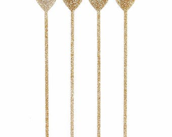 Gold Glitter Heart Drink Stirrers