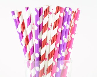 Polka Dots Stars And Striped Paper Straws Mix/Party Decor/Cake Pop Sticks/Party Supplies/Wedding/Baby Shower
