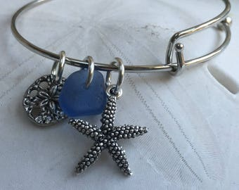 Beach jewelry, Ocean jewelry, Beach bracelet, BlueAtlantic blue sea glass adjustable charm bracelet, beach themed, add a charm bracelet