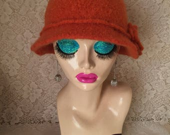 Pumpkin Vintage Inspired Crocheted Felted Cloche Flapper Hat 'Molly'