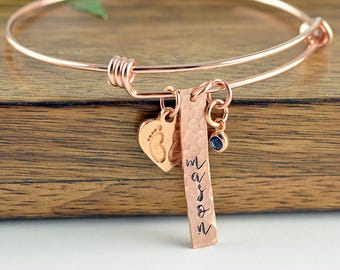 Hand stamped jewelry personalized gifts by luckyhorngifts on etsy rose gold baby name bracelet mommy bracelet new mom gift new mom jewelry negle Gallery