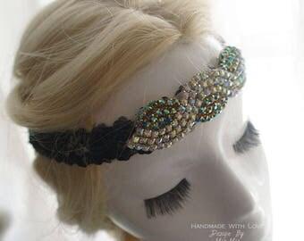 Luxury Black Sequins rhinestone Great Gatsby Headband,masquerade mask , Wedding , 1920s Flapper Headband,Hippie Bohemian gypsy,fascinator
