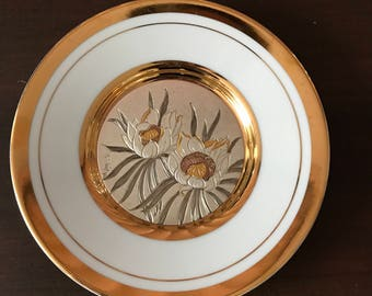 "Chokin plate, 5-3/4"" in diameter, from Japan, gold trim"