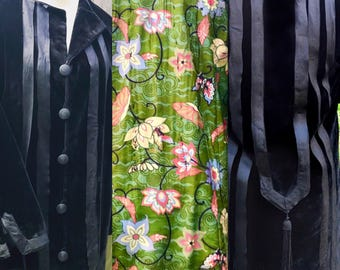 Rare Edwardian Black Velvet Coat with Vibrant Silk Novelty Print Lining of Butterflies and Flowers