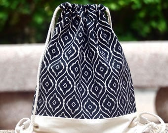 Drawstring backpack/ Cotton backpack/ Drawstring bag/ handmade backpack/ Gym bag/ Swim bag ~ Black and white (B109)