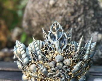 Merman Crown - Shell Crown - Festival Crown - Mermaid Crown - Patina Crown - Mermaid Costume. READY TO SHIP