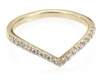 Chevron Diamond Ring/ Diamond V-Ring with Pave Diamonds / Diamond Wedding Band - Gold & Diamond Ring