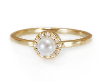 10% OFF Mini Pearl Engagement Ring, Halo Diamond Ring, 14K Gold Ring, Delicate Ring, Freshwater Pearl Ring, Unique Engagement Ring