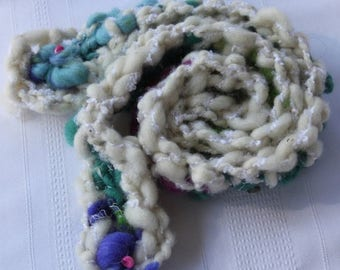 XMAS IN JULY up to 50%off Sale Hand Crocheted Aqua and White Scarf,  with beads, shells Hand spun baby yarn