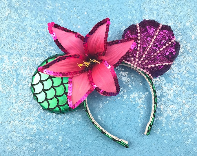 The Little Mermaid Sequin Pearl Minnie ears with Pink flower or pick any color sequin bow