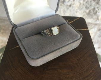 Art Deco Ring Mother Of Pearl Ring Sterling Silver Size 7 Vintage Ring