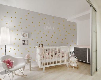 Gold Wall Decals Polka Dots Wall Decor Confetti Polka Dot Wall Decals Set of 100 plus more colourss