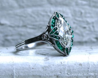 Vintage Art Deco Platinum Navette Emerald and Marquise Diamond Ring Engagement Ring - 2.82ct.