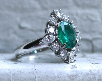 RESERVED - Gorgeous Vintage 14K White Gold Diamond and Emerald Ring Halo Ring - 2.70ct.