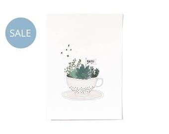 ON SALE! Tea Cup Illustration Print A4