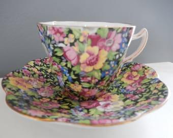 Chintz Black China - Chintz Tea Cup & Saucer - English Bone China - Rosina Bone China - Collectable China - Cup and Saucer