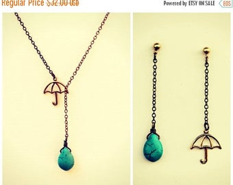 VACATION SALE umbrella necklace with matching earrings, turquoise necklace, rain necklace,umbrella earrings, necklace earrings set