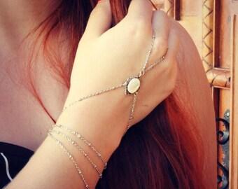 VACATION SALE silver pearl slave bracelet, silver pearl hand chain, ring bracelet, slave ring, unique bracelet, silver hand piece