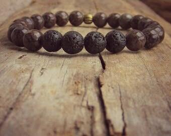 Mens Lava Stone Diffuser Bracelet • Obsidian Lava Diffuser Bracelet • Lava Rock • Essential Oil Bracelet • Mens Lava Bracelet