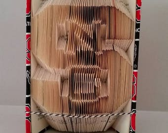 PATTERN - NC State University Themed   Folded Book Art - Book Sculpture Paper Art Origami