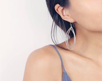 Delicate simple everyday beaded oval hoop earrings - silver